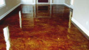 Acd stained concrete basement garage flooring Bach Custom Coatings Portland OR