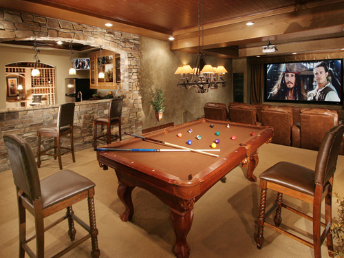 Recreational Gadgets A Pool Table In A Designer Man Cave.