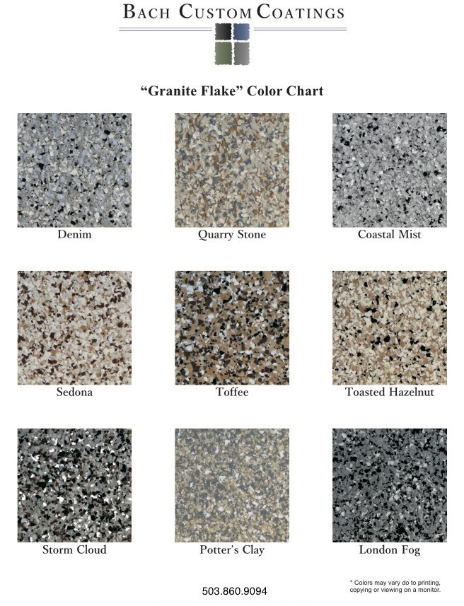 Granite Flake Color Chart by Bach Custom Coatings