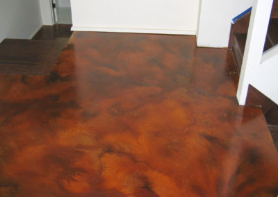Concrete basement floor epoxy coating contractors. Before image acid stain. Bach Custom Coatings 503-860-9094
