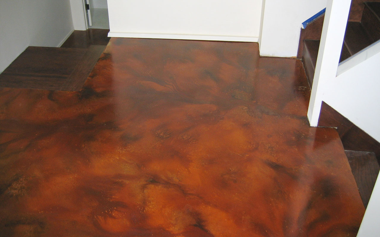 Basement floor epoxy coating acid stain se portland or for Concrete floor coatings